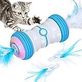 Iokheira Interaktives Katzenspielzeug Elektrischer Automatisch Selbstrotierendes Intelligentes Katzen Spielzeug Feder mit USB Aufladbar & Farbenfrohe LED Leuchten Spielzeug für Katzen Kitty(Blau)