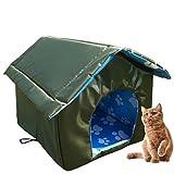 Xinjiashou Katzenhaus Für Draußen Winterfest, Outdoor Katzenhöhle Für Katzen kleine Hunde, Weich Und Warm Faltbare Katzenhütte, Wasserdicht Wetterfester Hautier Haus