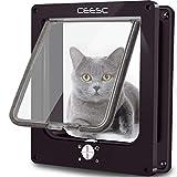 CEESC Große Katzenklappe, Magnetische Haustiertür mit 4-Wege-Drehverschluss für kleine Hunde und Katzen, Aktualisierte Version(L,Braun)