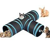 Fhodigogo Katzenspielzeug Katzentunnel, Katze Spielzeug Hundenspielzeug Spieltunnel 3-Wege Pet Play Tunnel Tube für Kätzchen, Welpen, Kaninchen, kleine Hunde