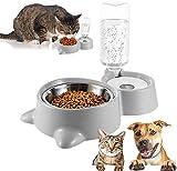 Pet Doppelschüssel,Automatischer Wasserspender und Futternapf Pet Bowl Doppelschüssel Futternapf Katze Set,für Haustiere wie Katzen und Hunde