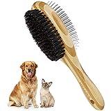 MELLIEX Katzenbürste Hundebürste, Wildschweinborsten & Nadelbürste Doppelbürste Haustierbürste Kamm Hund und Katzen für Kurzhaar Langhaar