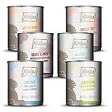 MjAMjAM - Premium Nassfutter für Katzen - Mixpaket 3 - Wild & Kaninchen, Pute, Ente & Geflügel, herzen, Huhn, Rind, 6er Pack (6 x 800 g), getreidefrei mit extra viel Fleisch