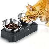 PewinGo Futternapf Hund Katze Rostfreier Stahl, Rutschfeste Silikonbasis mit 0° und 15° Vorschubwinkel Kipphals-Schutzschale für Haustiere, Katzen und Welpen