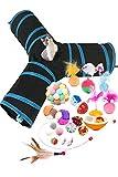 HORYDIA Katzenspielzeug Set Mit Katzentunnel Cat Toy Set Einschließen Katzen Interaktives Spielzeug Bälle Federspielzeug Zubehör Insgesamt 21 Stück Variety Pack Spielzeug.
