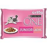 PURINA ONE Junior Kittenfutter nass, zarte Stückchen in Sauce mit Lachs & Karotten, 12er Pack (12 x 4 à 85g)
