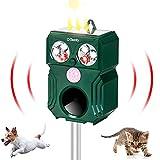 Ehomfy Ultraschall Katzenschreck mit 9-70 kHz Ultraschallwellen, Katzenabwehr mit Solar- und Akkuaufladung, wasserdichter Tiervertreiber mit LED-Blitz und PIR-Bewegungsmelder für Gärten und Höfe