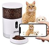 Viugreum 4L Futterautomat für Katzen, Automatischer Futterautomat Katzen Hunde mit Timer 2.8 mm High Definition Objektiv ,Futterspender Katze mit unbegrenzter Kapazität +APP Steuerung