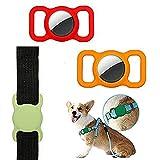 jiuyao Haustier Silikon Schutzhülle für Apple Airtag GPS Finder Hund Katze Halsband Schlaufe Verstellbar für Kinder Ältere Taschen (Kombination 3) (Kombination 5)