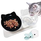 Legendog Katzennapf , Katze Futternapf /15° Gekippte Plattform katzennäpfe/Hundenapf für Katze Welpe Futter und Wasser (Schwarz und weiß)