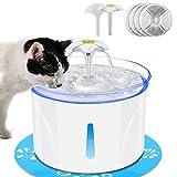 Katzenbrunnen, Trinkbrunnen für Katze Automatische, 2.5 L Katzen- und Hunde wasserspender mit 4 Aktivkohlefiltern, Extrem Leiser Anti-Trockenbrennen Wasserspender für Haustiere, LED-Leuchten, 2 Düsen.