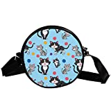 Runde Crossbody Tasche Kleine Handtasche Damen Mode Schultertaschen Messenger Bag Canvas Tasche Hüfttasche Zubehör für Frauen - Süße Katze Wollball