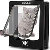 CEESC Große Katzenklappe (Außengröße 29,5 cm x 24,5 cm), drehbare 4-Wege-Verriegelungstür für Katzen-Außentüren, wetterfeste Haustiertür für Katzen und Hunde mit Umfang