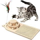 MoreJoy Katzenkratzer, hölzerner Drehteller Katzenkratz-Pad Spielzeug, doppellagiger Katzen-Drehteller mit interaktivem Ball und Katzenkratzbrett, Katzenspur Spielzeug 3 in 1 Katzenkratzer