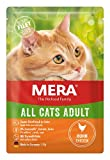 MERA Cats All Cats Adult Huhn, Nassfutter für ausgewachsene Katzen, getreidefrei & nachhaltig, Katzenfutter mit hohem Fleischanteil, 12 x 85 g