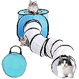 Vanplay Katzentunnel Faltbarer Kätzchen-Katzenspielzeug-Tunnel und Zelt mit Aufbewahrungstasche für Katzen Welpen Kätzchen Kaninchen