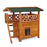 lionto by dibea Katzenhaus Lodge Holz für Katzen mit Terrasse und Treppe 77x50x73 cm natur/braun