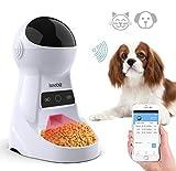 Iseebiz WiFi Automatischer Futterspender, ca. 3L Futterautomat für Hund und Katze, Automatic Pet Feeder mit Ton-Aufnahmefunktion Speicherfunktion, bis zu 6 Mahlzeiten am Tag