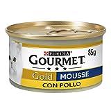 Purina Gourmet Gold, Katzennahrung, Mousse mit Huhn, Packung mit 24 Dosen mit jeweils 85 g
