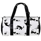 TIZORAX Duffel Bag für Damen und Herren, schwarze Katzen, zum Spielen von Wollbällen, Sport, Fitnessstudio, Tragetasche, Wochenende, Übernachtung, Reisetasche, Outdoor-Gepäck, Handtasche