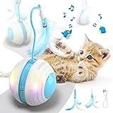 Jionchery Interaktives Katzenspielzeug für Hauskatzen Elektrisch Bewegliches Katzenfederspielzeug Automatisch 360 ° Selbstdrehend und USB Wiederaufladbar mit LED Farblichtspielzeug für Kätzchen