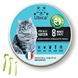 Ubica® Zeckenhalsband für Katzen - Flohhalsband Katze - Zeckenschutz - Flohmittel Katzen - Formel mit ätherischen Ölen (Zitronengras) - Gefahrlos und 100% WASSERDICHT 3 Zeckenklammern Gratis