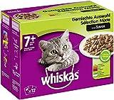 Whiskas 7 + Katzenfutter – Gemischte Auswahl in Sauce – Hochwertiges Nassfutter für Katzen ab 7 Jahren und älter – Für die Bewahrung der Vitalität – 48 Portionsbeutel à 100g