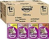 Whiskas 1 + Katzenfutter Ragout – Geflügelauswahl in Gelee – Abwechslungsreiches Nassfutter in verschiedenen Geschmacksrichtungen – 120 Portionsbeutel à 85g