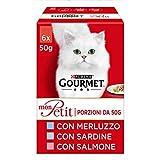 Purina Gourmet Mon Petit Feuchtigkeit für zarte Kreationen mit Fisch, mit Dorsch, Sardin, Lachs – 48 Beutel à 50 g (8 Packungen à 6 x 50 g)