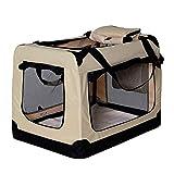 lionto by dibea Hundetransportbox Hundetasche Hundebox faltbare Kleintiertasche Größe (L) 70x52x50 cm Farbe Beige