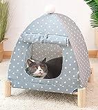 Xpnit Katzenzeltbett, erhöhtes Hundebett, Katzenhaus, tragbar, erhöhtes Haustierbett, waschbar, atmungsaktiv, Leinen, für drinnen und draußen (grau)
