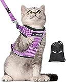 Katzengeschirr CATISM Katzenleine mit Leine Geschirr mit Reflektierenden Streifen Katzen Ausbruchsicher Katzengarnitur Ausbruchsicher Verstellbar Katzenweste Kaninchengarnitur Katze und Hunde Violett