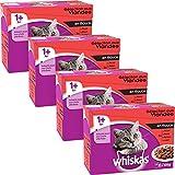 whiskas Geflügelauswahl in Gelee - Nassfutter für ausgewachsene Katzen - Komplettnahrung in Frischebeuteln - 48 x 100g