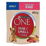 PURINA ONE Mini/Small Adult Hundefutter trocken für kleine Hunde, reich an Rind & Reis, 8er Pack (8 x 800g)