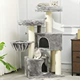 MSmask Kratzbaum groß XXL, Katzenbaum für Grosse Katzen stabil mit groß Sisal-Kratzstangen, 2 großer Aussichtsplattform (Grau + Weiß Sisalstämme)