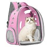 Vailge Haustier Hunde Katzen Rucksack Raumkapsel, Tragbar Transportrucksack Transporttasche für Haustiere Reisen Atmungsaktive Kapsel Rucksack für Katzen Kleine Hunde(Rosa)