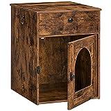 HOOBRO Katzentoilette, 45 x 50 x 61 cm, Katzenklo Schrank mit Schubladen und Einzeltür, Nachttisch, vergrößerter Türöffnung, Katzenhaus, 2 Griffe, stabile, für kleine, große Katzen EBF04MW01