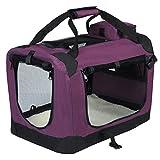 EUGAD Hundebox faltbar Hundetransportbox Auto für Französische Bulldogge Dackel Jack Russell Terrier Violett M (60x42x42cm) 0114HT