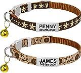 TagME Personalisiertes Katzenhalsband, Katzenhalsband Sicherheitsverschluss, Mit Name und Telefonnummer, 2-Stück Verstellbar Halsband Katze Kitten, Braun