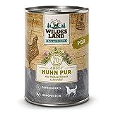 Wildes Land - Nassfutter für Hunde - Huhn PUR - 12 x 400 g - mit Distelöl - Getreidefrei - Extra hoher Fleischanteil von 70% - Beste Akzeptanz und Verträglichkeit