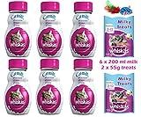 whiskas Katzenmilch 6 x 200 ml milchige Leckerlis, 2 x 55 g Mix Pack und gratis Spielzeug