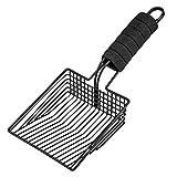 BasicForm Katzenstreu-Schaufel - Edelstahl Katzenstreu-Schaufel mit breiter Schaufel, schnellem Sieb - bequemem Schaumstoffgriff - Schwarz
