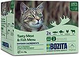 BOZITA Multibox Mixpack Lachs, Barsch, Rind, Hühnchenleber 12x85g - Häppchen in GELEE im Pouch Portionsbeutel - getreidefreies Nassfutter für erwachsene Katzen