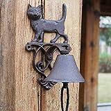 Wnmw Garten Gärten Katzenklingel europäische und amerikanische Retro Gusseisen Türklingel Wallbell Handbell Türklingel Außendekoration