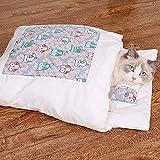 Qagazine Warmer Katzenschlafsack Abnehmbarer Katzenbett Winter Warm Katzenhaus Kleines Haustierbett für Haustierliebhaber
