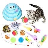 Katzenspielzeug, 14 Stück Kätzchen Maus Spielzeug Set, Katze Toys Variety Pack, Interaktiv Toys mit Federn Maus Katzenteaserstab, Plüschspielzeug Bälle für Kitty