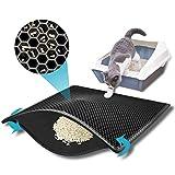 kaxionage Katzenklo Matte, 61 x 38 cm Katzenmatte, Waben Doppelschicht Design,Wasserdichtes Urinbeständiges Material, Easy Clean Streukontrolle (Schwarz)