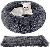 Legendog Katzenbett Runden, Katzenkissen Flauschig 2 Stücke Weich Waschbar Haustierbett + Haustierdecke Katzen Schlafplatz Bett für Katze und Kleine Hunde 50cm