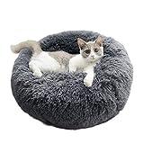 BingoPaw Katzenbett waschbar Flauschiges Hundebett, Donut Haustierbett Runde Plüsch Katzenschlafplatz für Katzen und kleine Hunde, Kuschelbett 60 x 26cm, Grau
