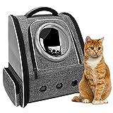 PENCCOR Haustier Hunde Katzen Rucksack Raumkapsel, Tragbar Transportrucksack Transporttasche für Haustiere Reisen Atmungsaktive Rucksack für große Katzen Kleine Hunde (maximale Last 8kg) (Grau)